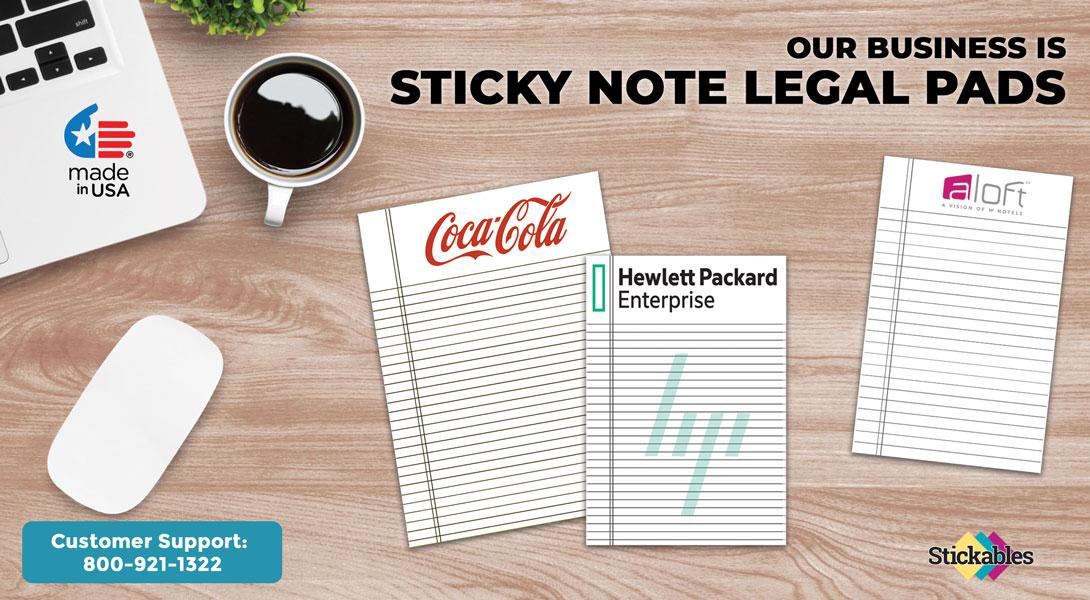 custom sticky note legal pads