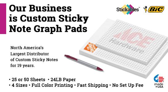 custom sticky note graph pads