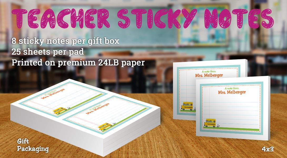 Teacher gift sticky note-Bus & children