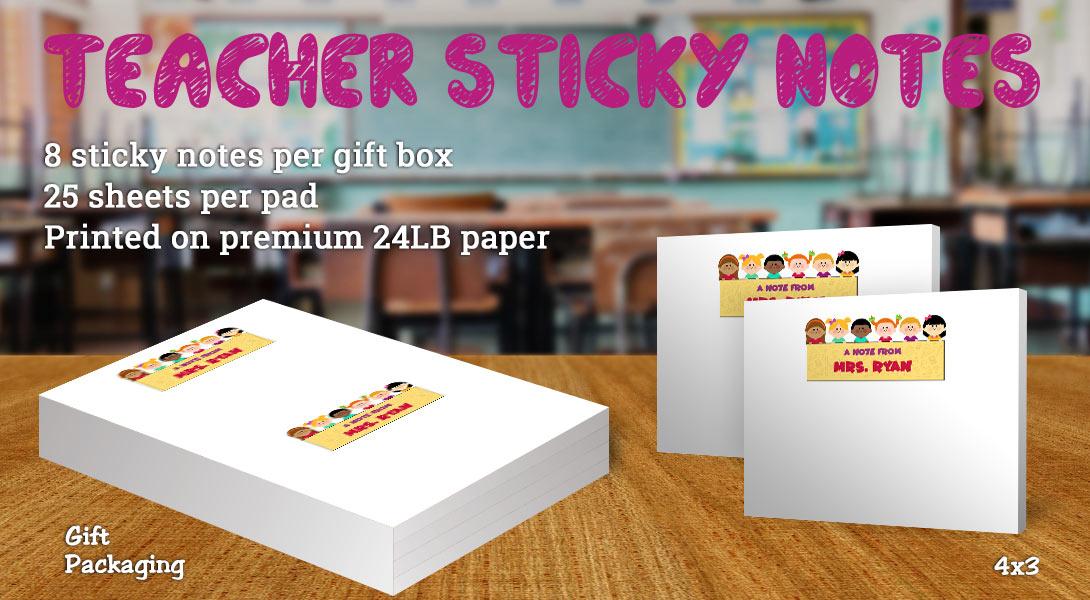Teacher gift sticky note-Children holding banner