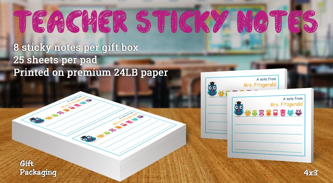 Teacher Gift Sticky Notes-Colorful owls