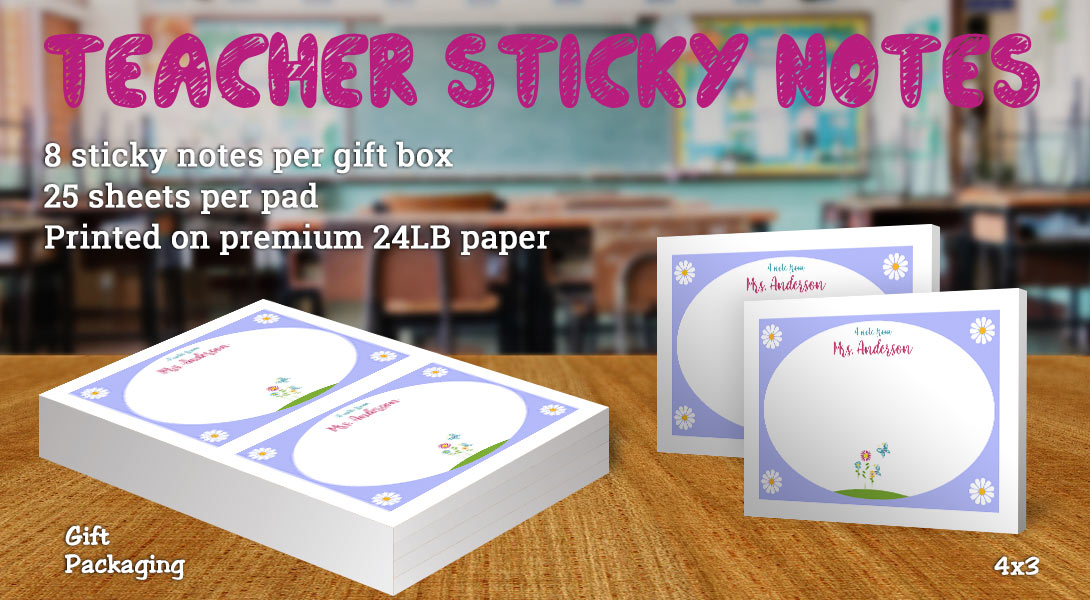 Teacher gift sticky note-Flowers & Butterflies