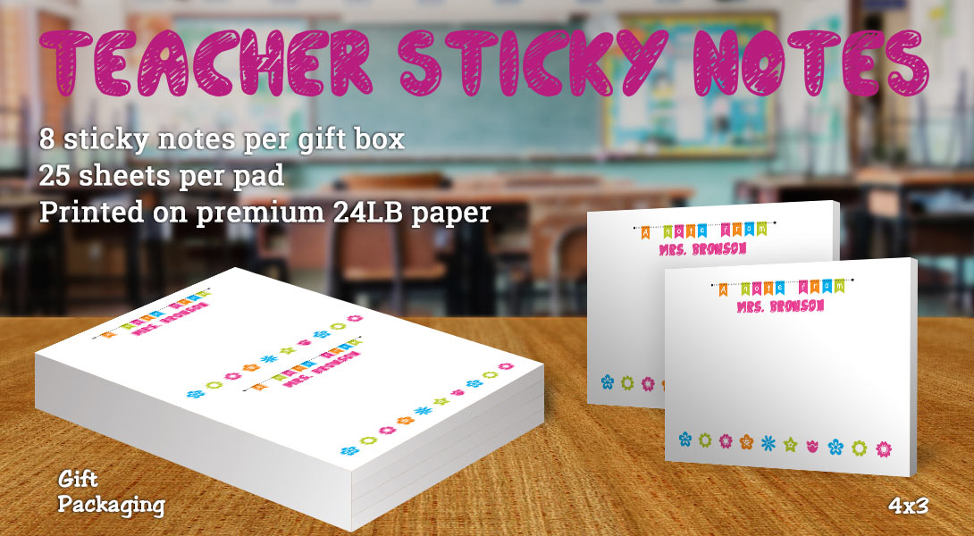 Teacher gift sticky note-Flowers