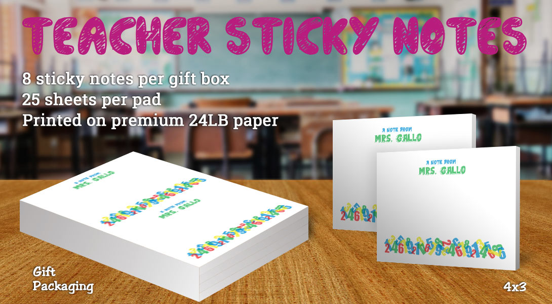Teacher Gift Sticky Notes-Math
