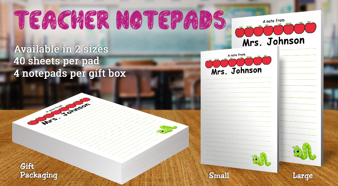 Teacher Gift-Notepad-Apples & Worm