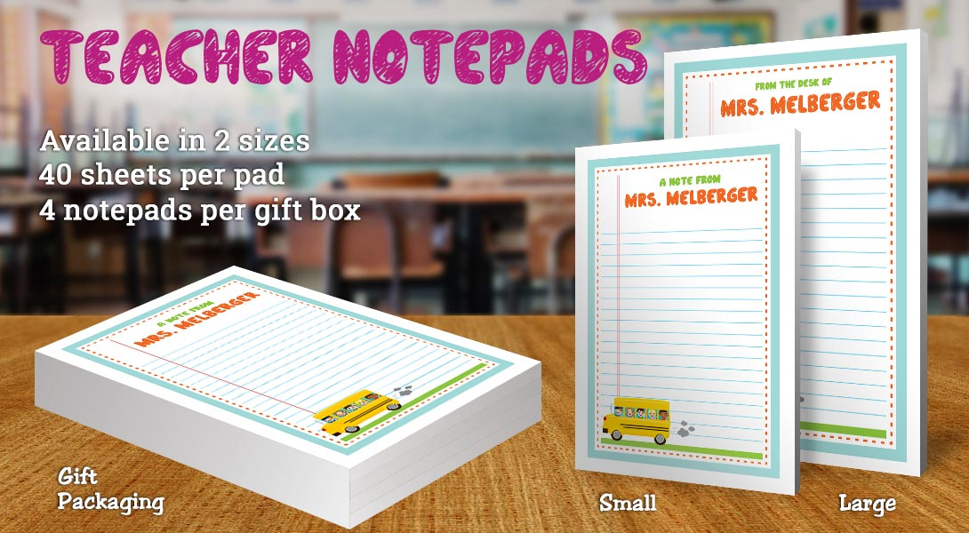 Teacher Gift Notepad-Bus & Children