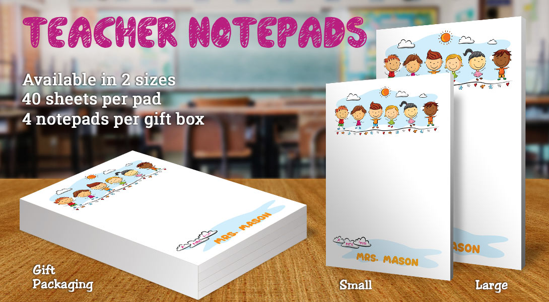 Teacher Gift Notepad-Children Playing