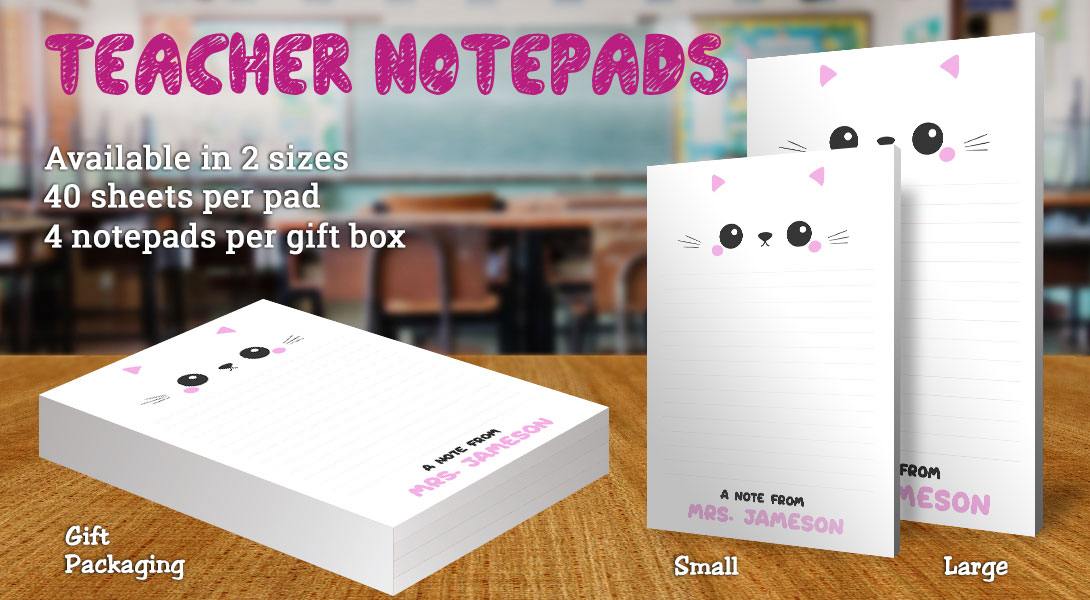 Teacher Gift Notepad-Cute Cat