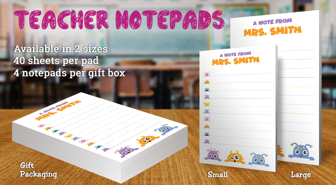 Teacher Gift Notepads-Cute Monsters