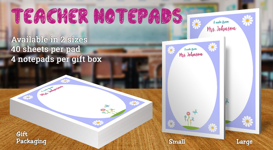 Teacher Gift Notepads-Flowers & Butterfly