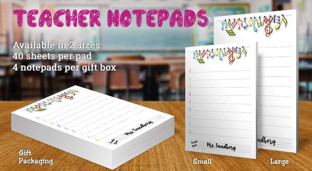Teacher Gift Notepad-Music Notes