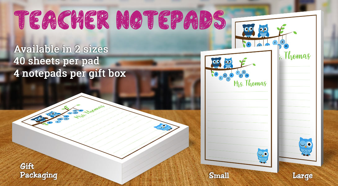 Teacher Gift Notepad-Owls on tree