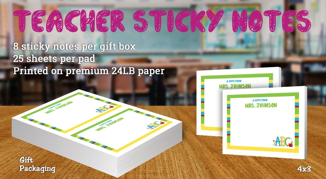 Teacher Sticky note-ABC & Apple