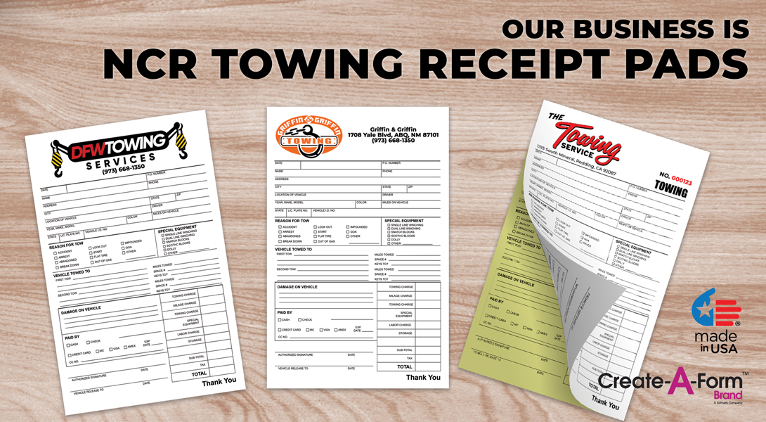 Towing invoice receipts