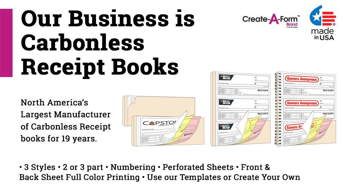 Custom NCR spiral receipt books