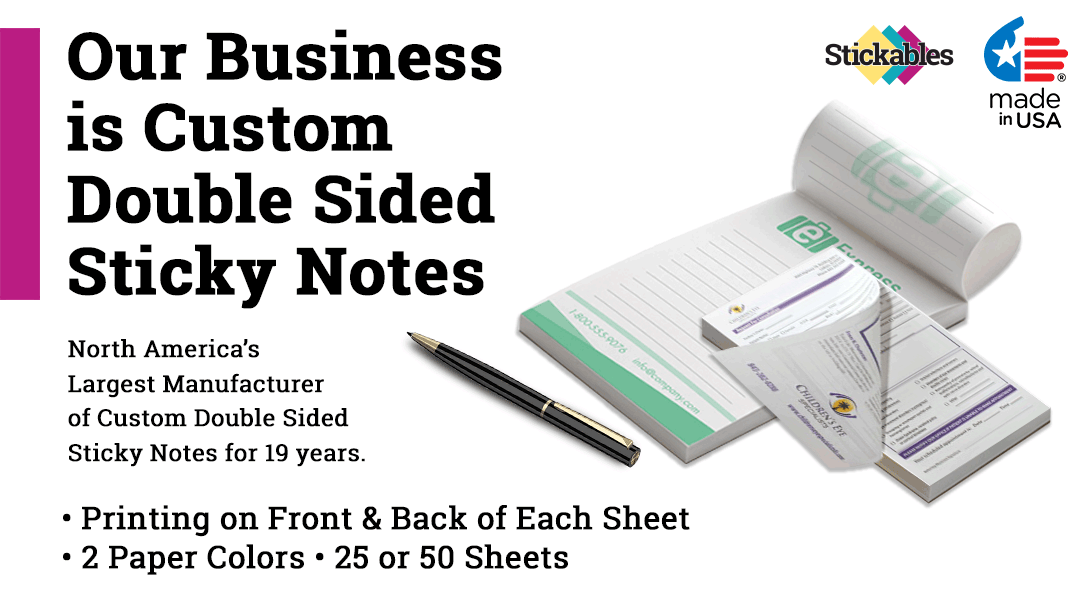 4.25 x 5.5 custom doubled sided post it notes