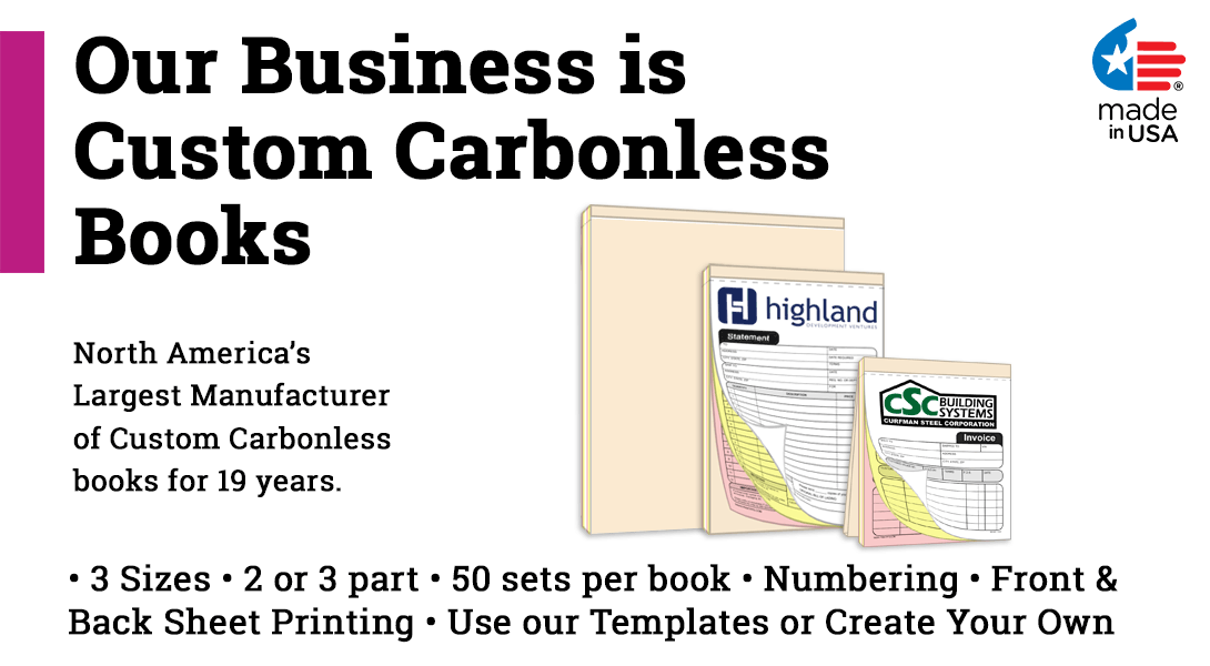 custom no carbon invoice statement sales receipt book