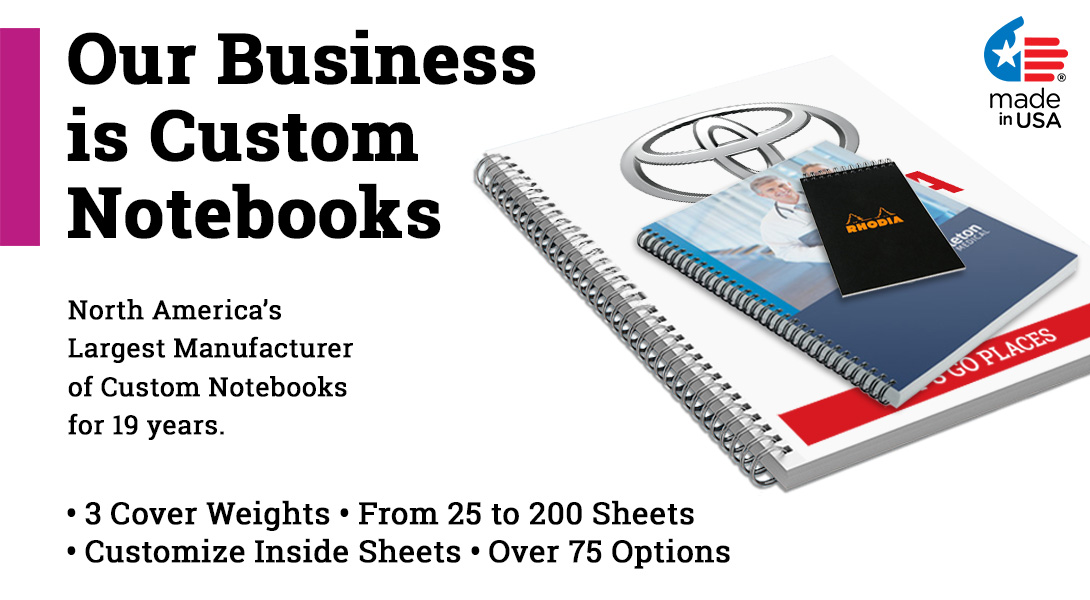 notebooks with logo