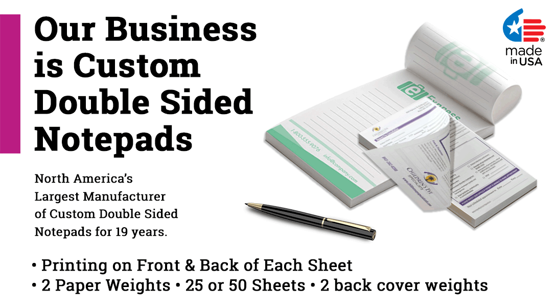 custom double sided note pads