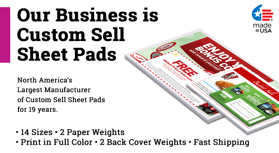 custom Sell sheet pads