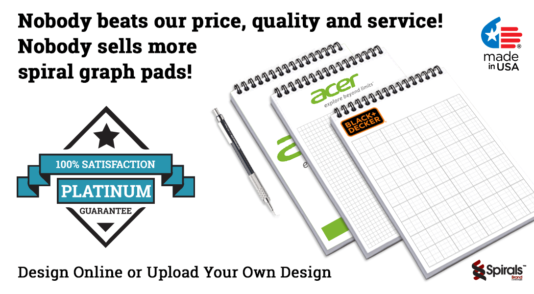 personalized spiral graph paper pads