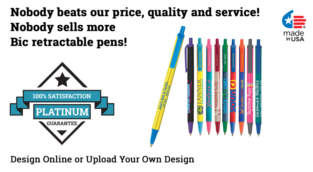 bic personalized push button pens