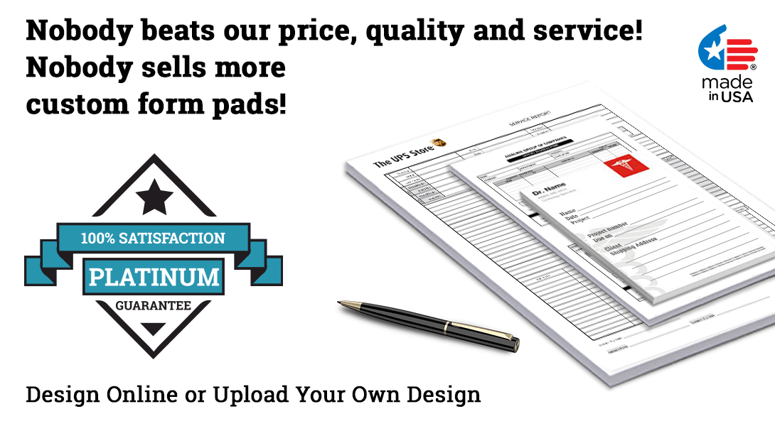 business form notepads with logo
