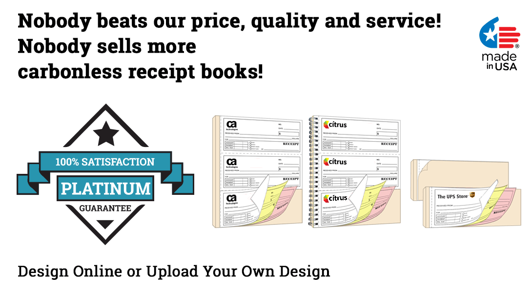personalized carbonless NCR spiral receipt books