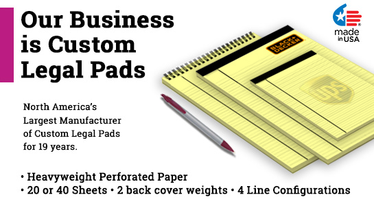 legal pads with company logo