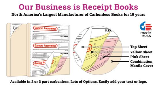 Custom NCR Receipt Books 3 per page
