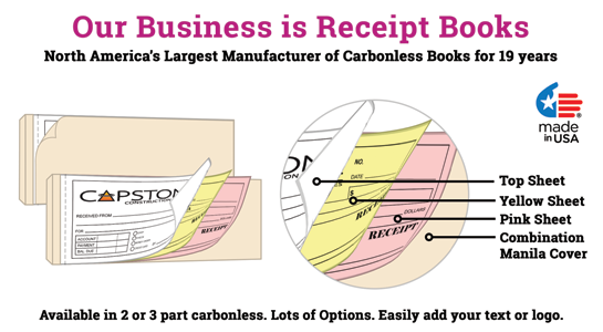 Custom small carbonless Receipt Book