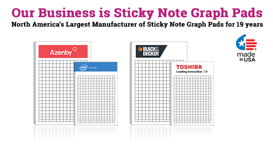 Custom sticky note graph pads